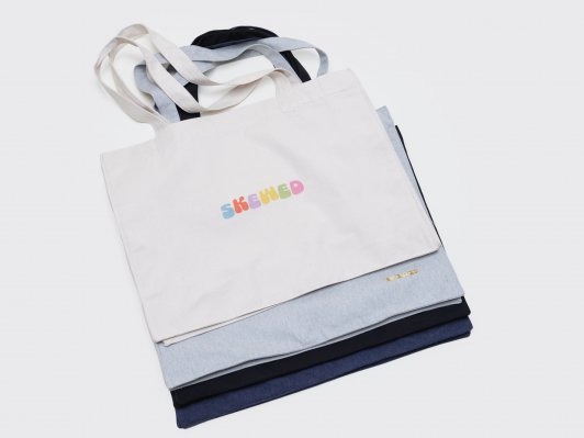 Shopping bag Faded Logo in Organic Cotton